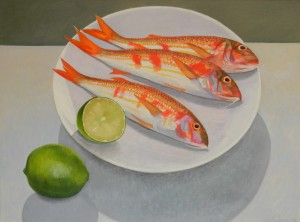 '' Red Mullet with Limes''  80 x 60 cm. Oil on canvas