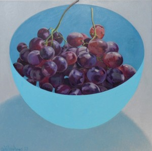 ''Turquoise bowl Grapes'' 60 x 60 cm      ( 2016 )