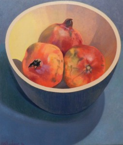Wooden bowl with Pomegrantes 55x65 cm ( 2016 )